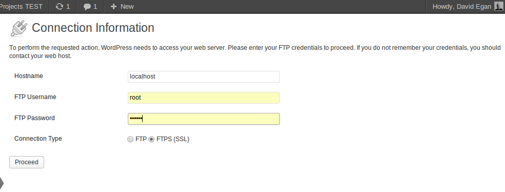 WordPress request FTP access